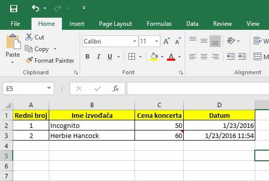Office Exce upisivanje datuma i vremena