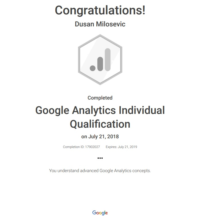 google analytics individual qualification gaiq certification dusan milosevic