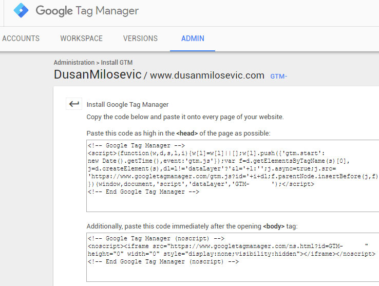 google tag manager gtm install code