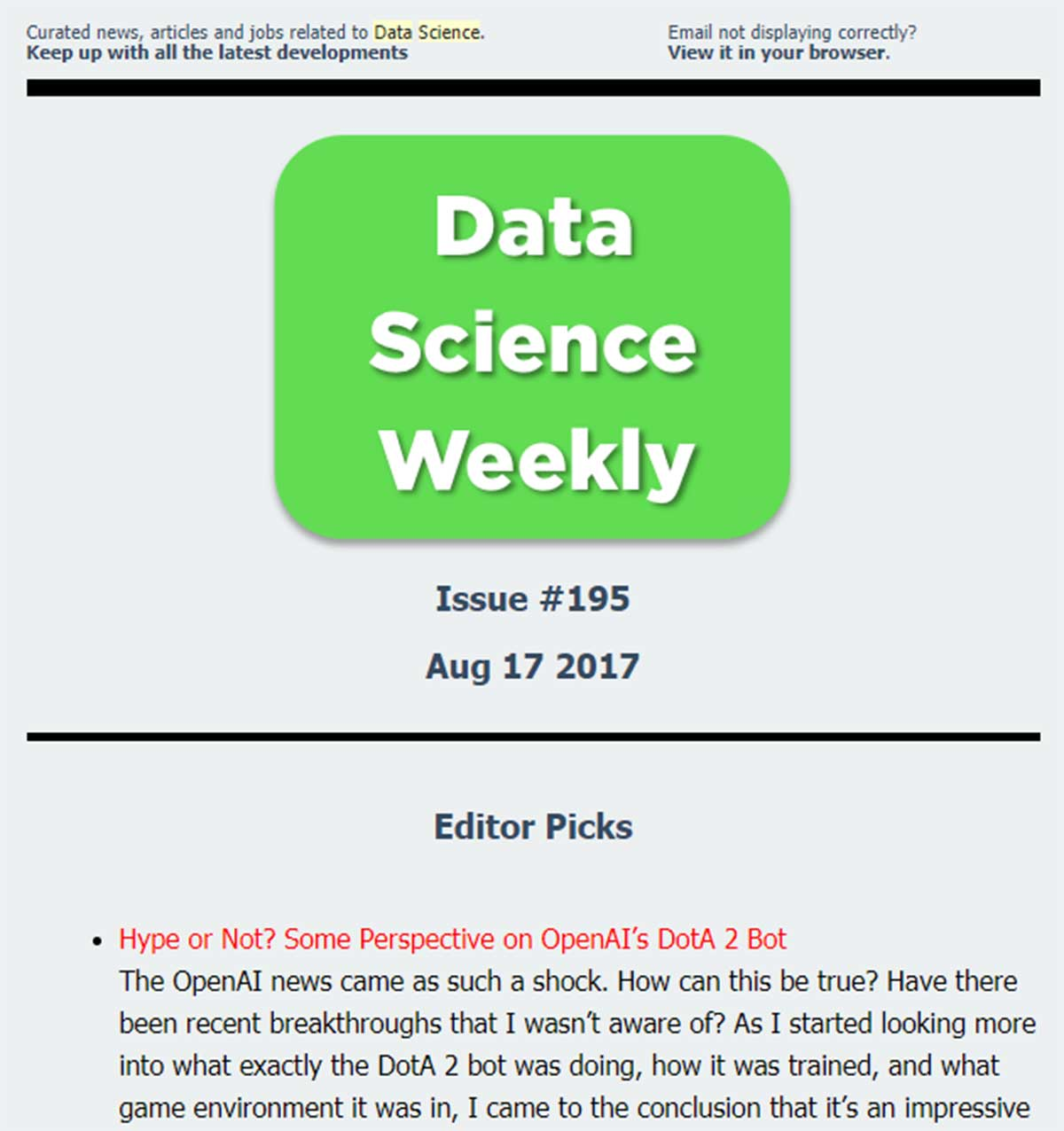 data science newsletter dcweekly
