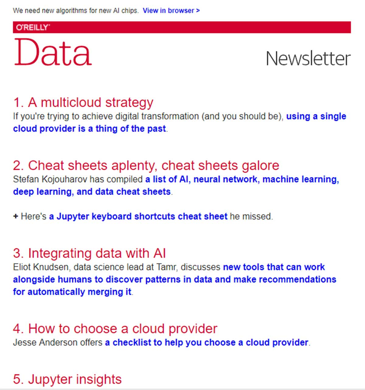 data science newsletter oreilly data
