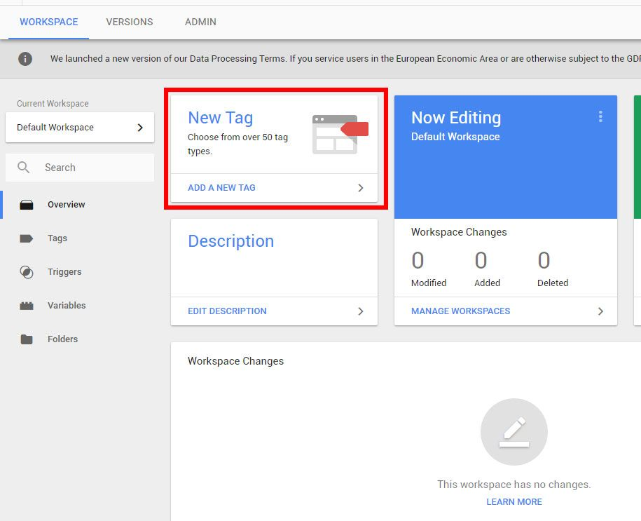 google analytics google tag manager new tag setup