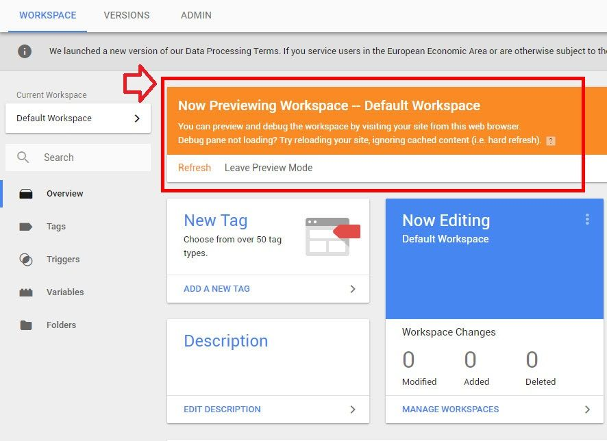 google analytics via google tag manager testing preview debugging tags