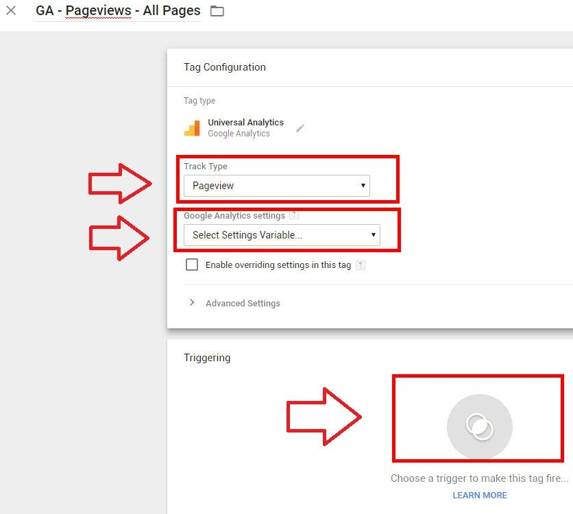 google analytics via google tag manager tag config variable triggering ga id